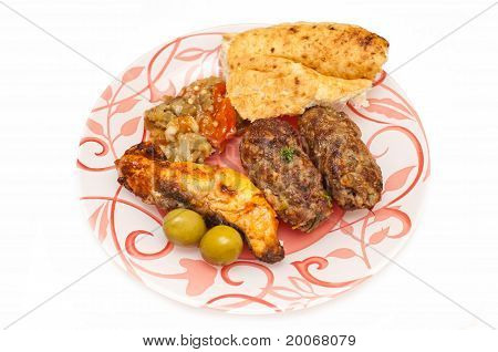 Minced Meat And Fish Kebab Served With Bread And Fresh Salad