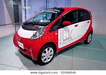 Moscow, Russia - August 25:  Red And White Electric Car Mitsubishi  Miev At Moscow International Exh
