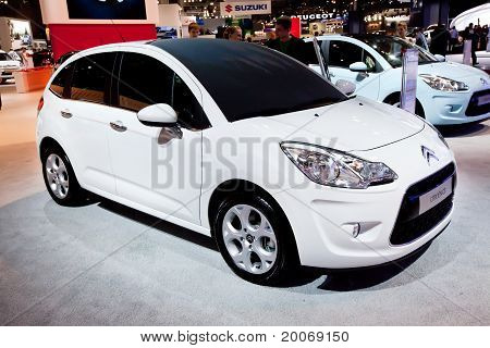 Moscow, Russia - August 25:  White Car Citroen C3 At Moscow International Exhibition Interauto On Au