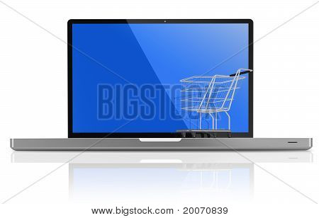 Shopping-cart Over A White Laptop