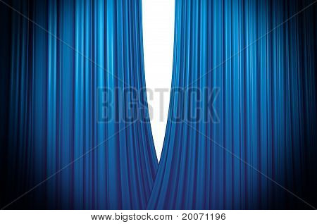 Blue Curtain Opening