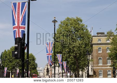 Flagge in Whitehall. London. England.