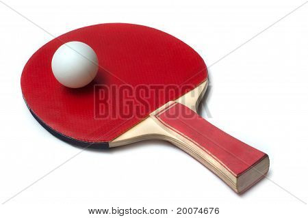 ping-pong ball on a racket