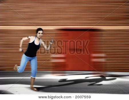 Wood Woman Running