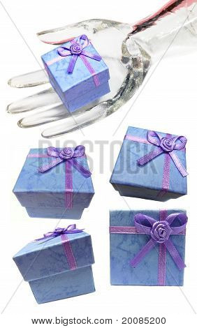 Blue Gift Boxes Display Collection