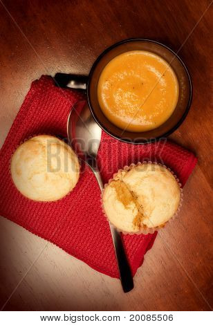 Mug Of Butternut Bisque And Corn Muffins