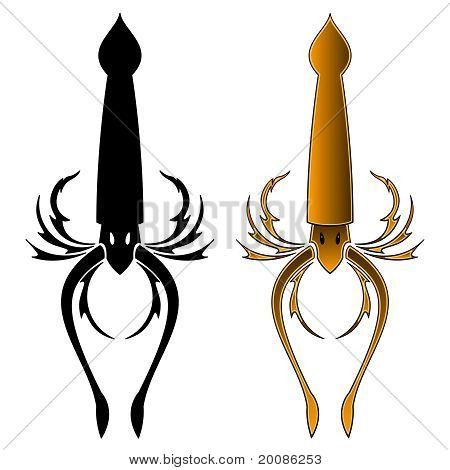 Squid tattoo design
