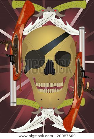 Skull With The Crossed Knifes And Pistols.