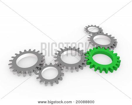 3D Gear Green Steel Chrom