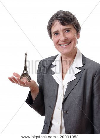 woman showing tiny eiffel tower