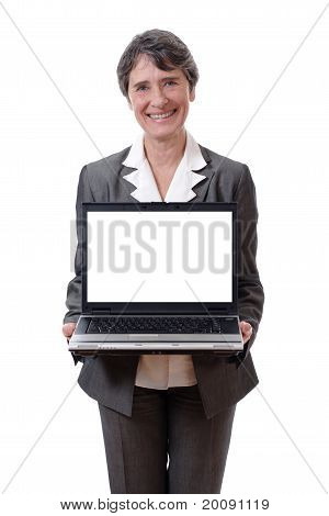 woman presenting laptop