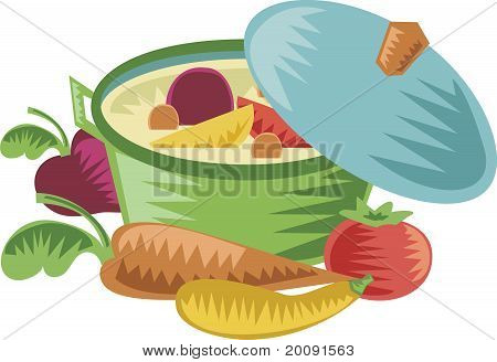 Colorful cooking pot with lid and healthy vegetables