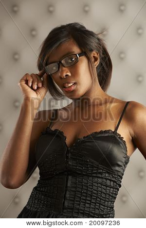 Flirting Model Wearing Glasses