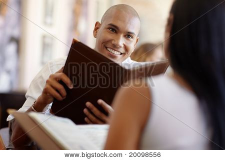Man And Woman Dating At Restaurant