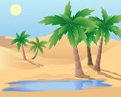 image of oasis  - an illustration of a desert oasis with palm trees and a pool under a blue sky - JPG