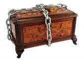 stock photo of marquetry  - Old wooden treasure chest  - JPG