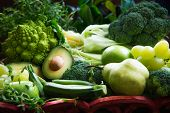 Fresh Raw Autumn Green Vegetables And Fruits poster