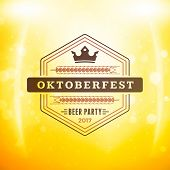 Beer Festival Oktoberfest Celebrations. Vintage Beer Badge On The Golden Beer Background With Light poster
