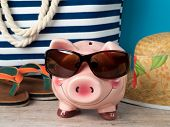 Happy Piggy Bank Wearing Sunglasses poster