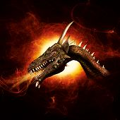 image of freaky  - Black background with fierce dragon in plasma flames - JPG