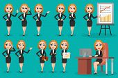 Large set of Business woman character design. Emotions, poses, gestures and actions. Office workers. poster