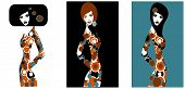stock photo of pop art  - pop art illustration of three silhouettes of women - JPG