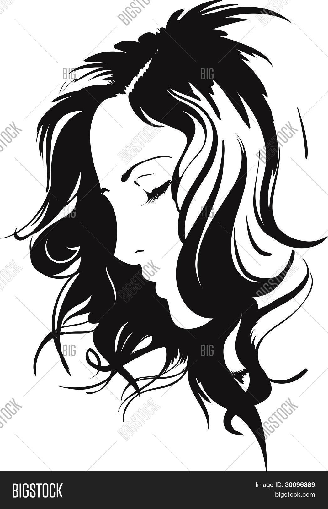 Beauty Girl Face Vector Photo