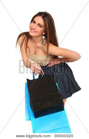 持有上白色孤立她购买女孩的性感购物
