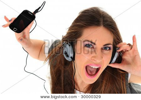 在白色背景上的音乐听女孩