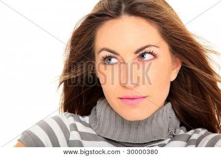 美丽的女人肖像微笑-孤立在白色背景