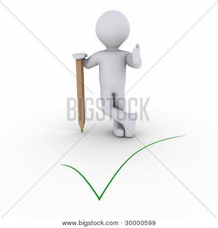 人靠着铅笔和一个绿色复选标记