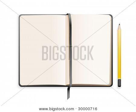小的素描本和铅笔