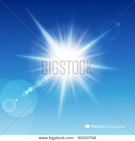 在蓝色的天空中的太阳。矢量插图。