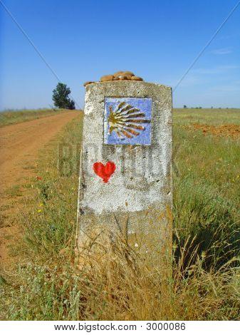 Marcador de la forma del camino De Santiago