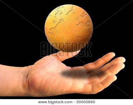 Globe Over A Palm On A Black Backgrownd
