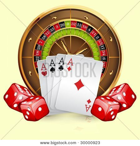 Illustration of casino roulette wheel with cards and dice. Isolated on white background