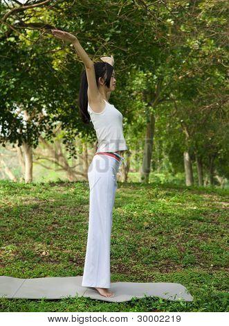 yoga girl on the green park  fresh air