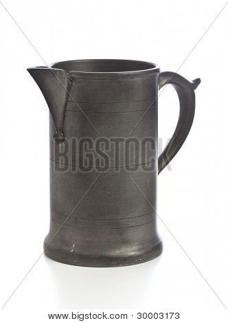 old pewter jug isolated on white background