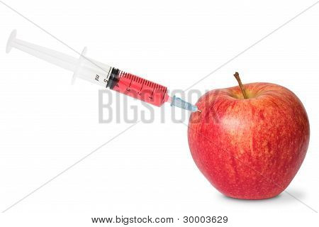 Red Apple And Syringe