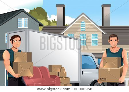 Moving Men With Truck And Boxes