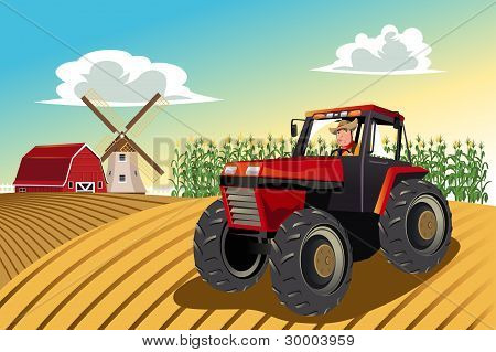 Landwirt einen Traktor fahren