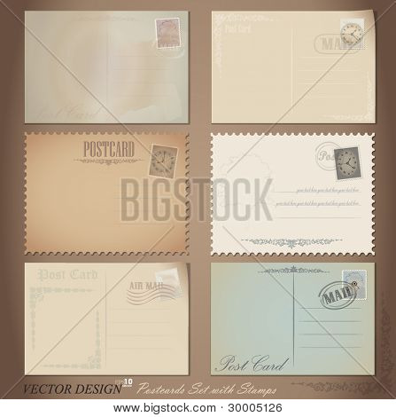 Vector set: Vintage postcard designs and postage stamps.