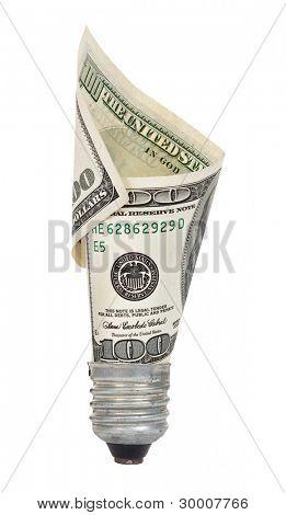 Glühbirne mit dollar
