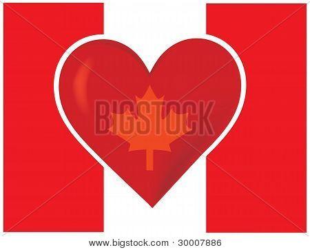 Bandera de Canadá del corazón