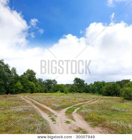 crossroads in steppe in nice summer day