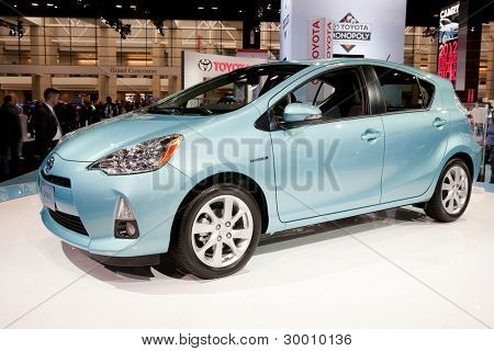 CHICAGO - FEB 12: The 2013 Toyota Prius C on display at the 2012 Chicago Auto Show. February 12, 2012 in Chicago, Illinois.