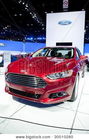 CHICAGO - FEB 12: The 2013 Ford Fusion on display at the 2012 Chicago Auto Show. February 12, 2012 in Chicago, Illinois.
