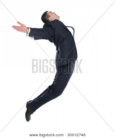 business man in flight on a white background