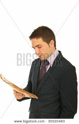 Business Man Reading Newpaper