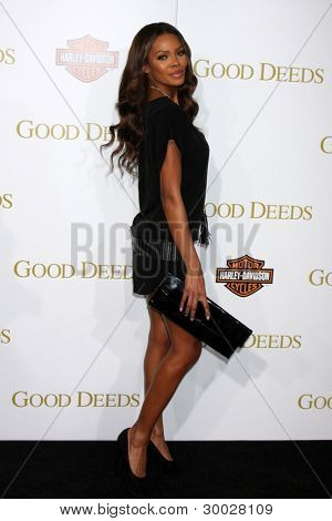 LOS ANGELES - FEB 14:  Crystle Stewart arrives at the Lionsgate's World Premiere of 'Good Deeds' at Regal Cinemas L.A. Live on February 14, 2012 in Los Angeles, California